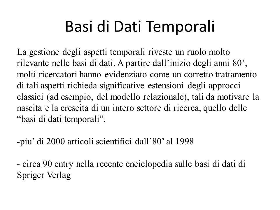 Basi di Dati Temporali La gestione degli aspetti temporali riveste un ruolo molto rilevante nelle basi di dati. A partire dall'inizio degli anni 80',