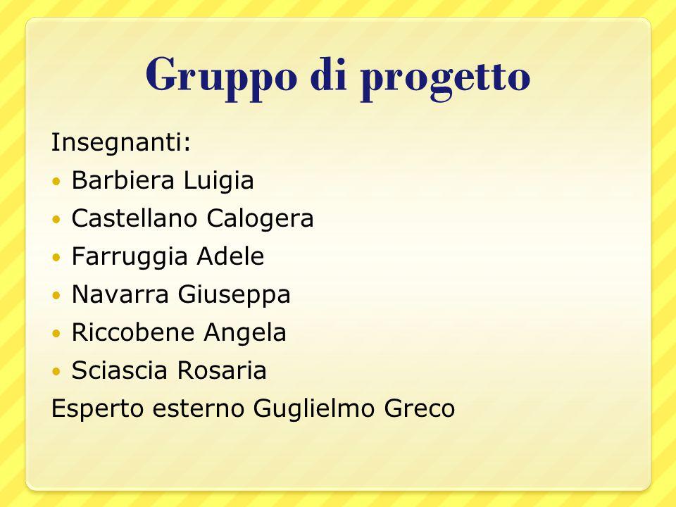 Gruppo di progetto Insegnanti: Barbiera Luigia Castellano Calogera Farruggia Adele Navarra Giuseppa Riccobene Angela Sciascia Rosaria Esperto esterno