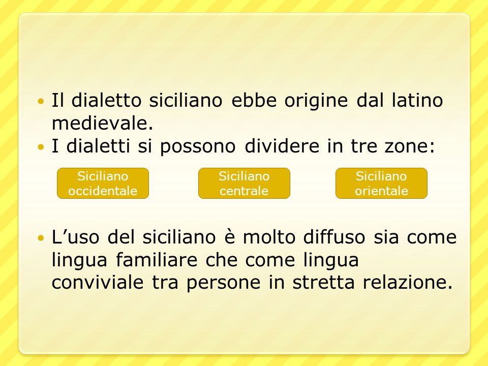 Il dialetto siciliano ebbe origine dal latino medievale. I dialetti si possono dividere in tre zone: L'uso del siciliano è molto diffuso sia come ling
