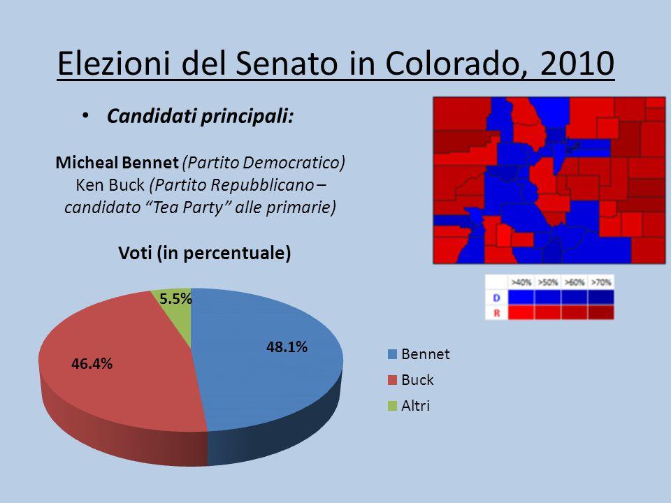 """Elezioni del Senato in Colorado, 2010 Candidati principali: Micheal Bennet (Partito Democratico) Ken Buck (Partito Repubblicano – candidato """"Tea Party"""