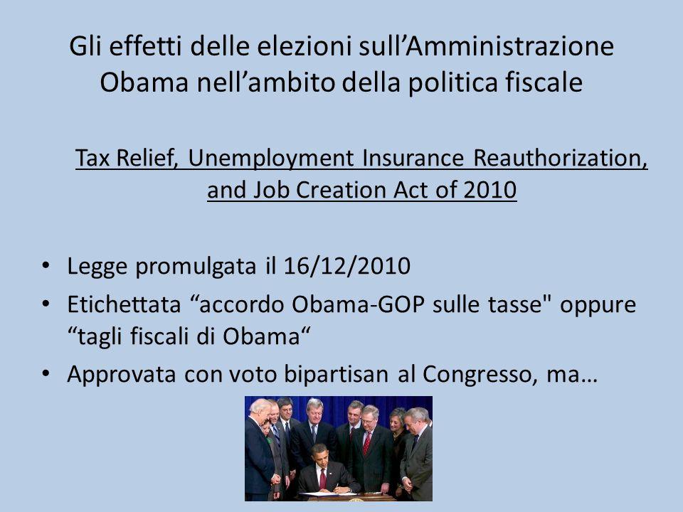 Gli effetti delle elezioni sull'Amministrazione Obama nell'ambito della politica fiscale Tax Relief, Unemployment Insurance Reauthorization, and Job C