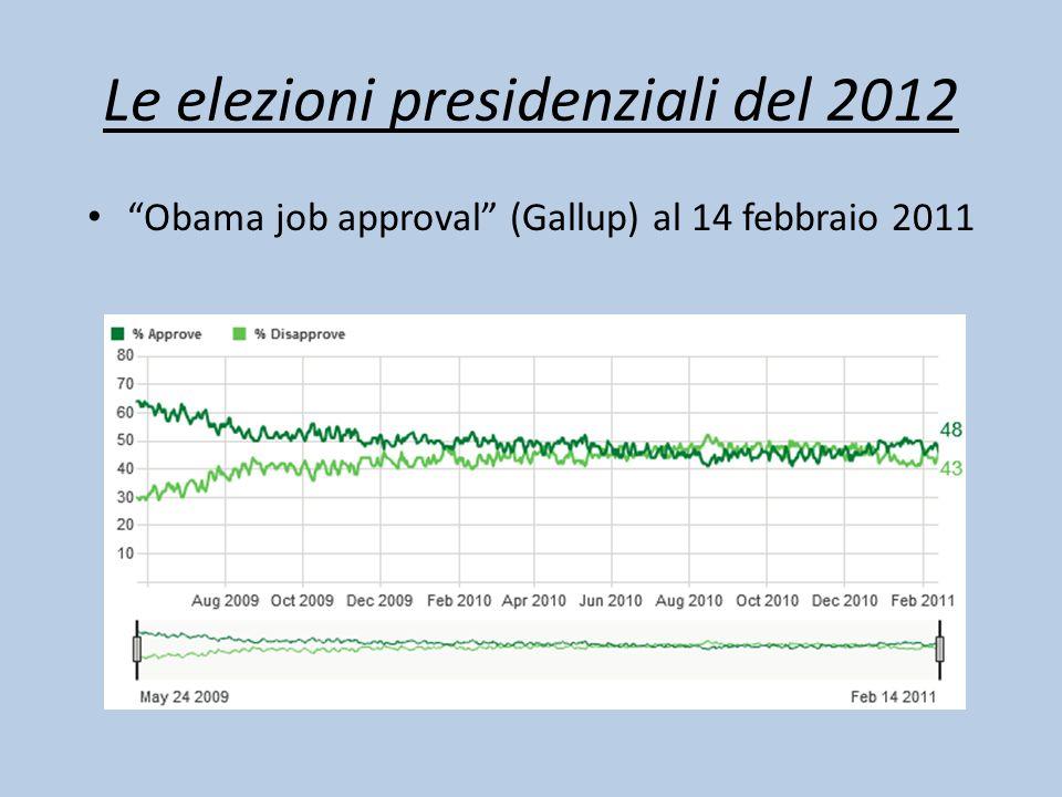 """Le elezioni presidenziali del 2012 """"Obama job approval"""" (Gallup) al 14 febbraio 2011"""