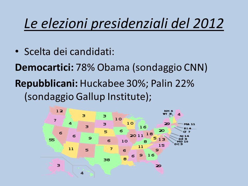 Le elezioni presidenziali del 2012 Scelta dei candidati: Democartici: 78% Obama (sondaggio CNN) Repubblicani: Huckabee 30%; Palin 22% (sondaggio Gallu