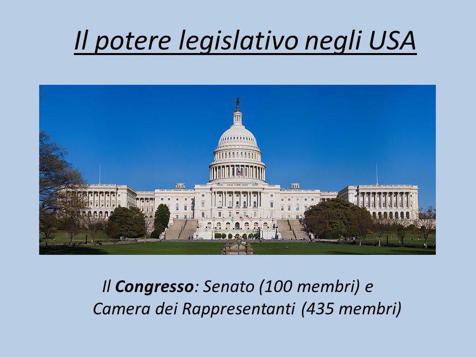 Il potere legislativo negli USA Il Congresso: Senato (100 membri) e Camera dei Rappresentanti (435 membri)
