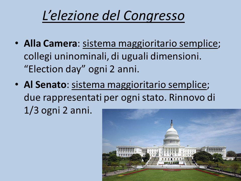 """Alla Camera: sistema maggioritario semplice; collegi uninominali, di uguali dimensioni. """"Election day"""" ogni 2 anni. Al Senato: sistema maggioritario s"""