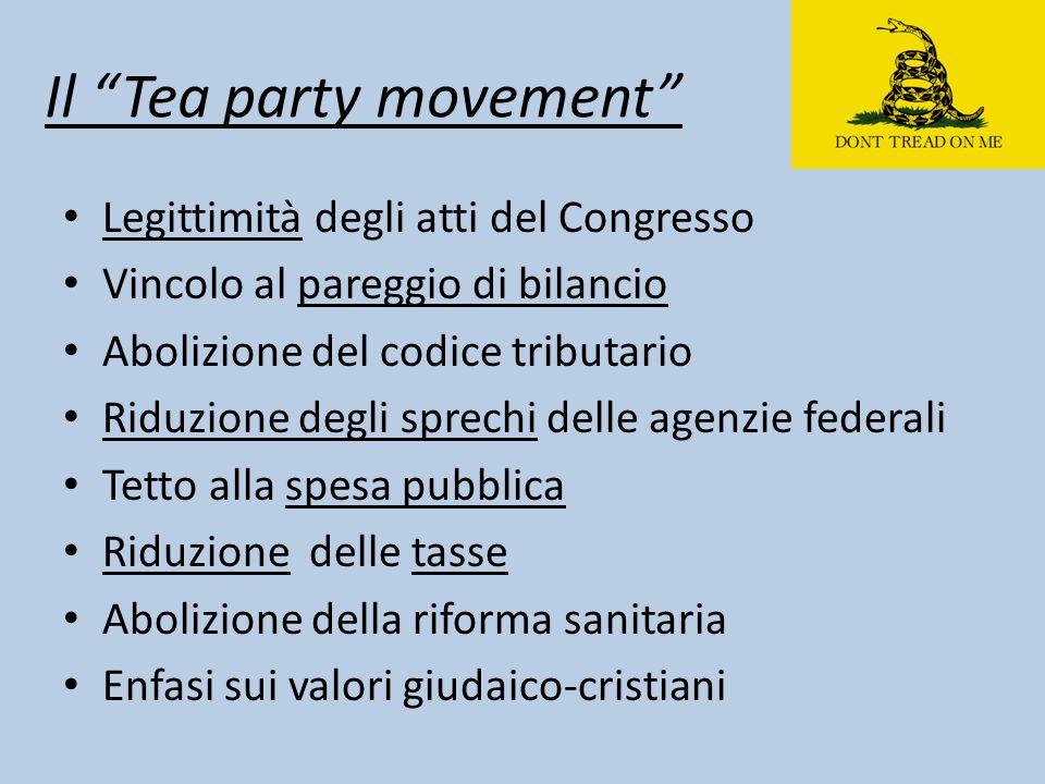 """Il """"Tea party movement"""" Legittimità degli atti del Congresso Vincolo al pareggio di bilancio Abolizione del codice tributario Riduzione degli sprechi"""