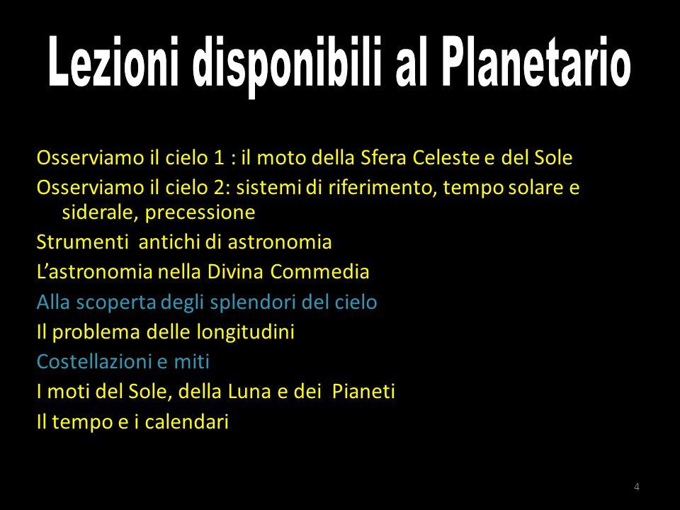 4 Osserviamo il cielo 1 : il moto della Sfera Celeste e del Sole Osserviamo il cielo 2: sistemi di riferimento, tempo solare e siderale, precessione S