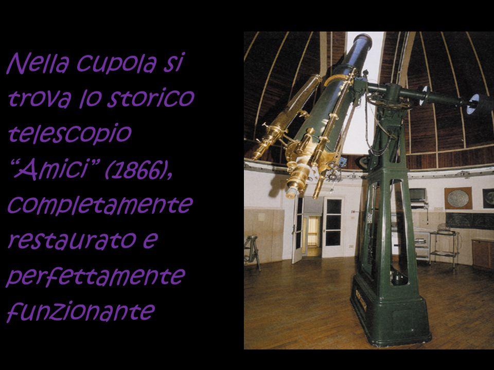 """Nella cupola si trova lo storico telescopio """"Amici"""" (1866), completamente restaurato e perfettamente funzionante"""