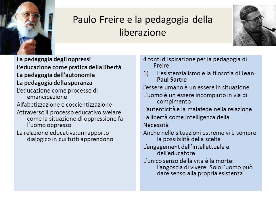Paulo Freire e la pedagogia della liberazione La pedagogia degli oppressi L'educazione come pratica della libertà La pedagogia dell'autonomia La pedag