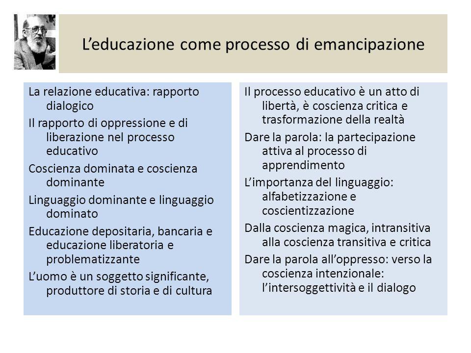 L'educazione come processo di emancipazione La relazione educativa: rapporto dialogico Il rapporto di oppressione e di liberazione nel processo educat
