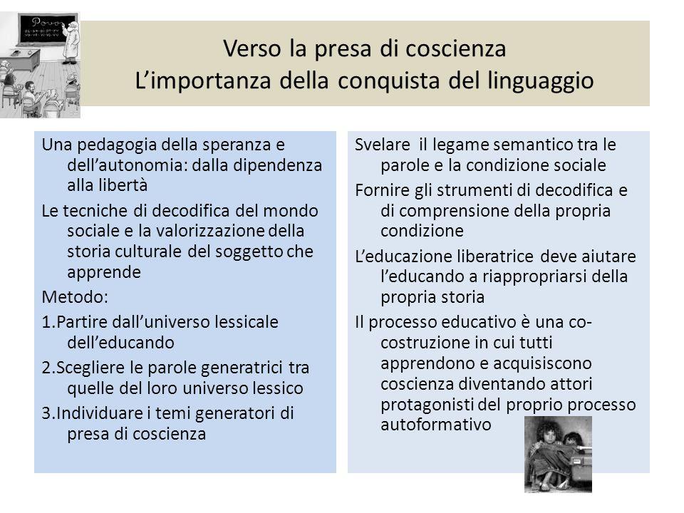 Verso la presa di coscienza L'importanza della conquista del linguaggio Una pedagogia della speranza e dell'autonomia: dalla dipendenza alla libertà L