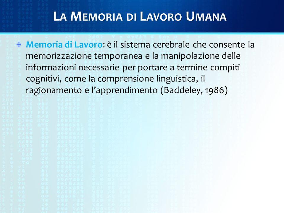 L A M EMORIA DI L AVORO U MANA Memoria di Lavoro: è il sistema cerebrale che consente la memorizzazione temporanea e la manipolazione delle informazioni necessarie per portare a termine compiti cognitivi, come la comprensione linguistica, il ragionamento e l'apprendimento (Baddeley, 1986)
