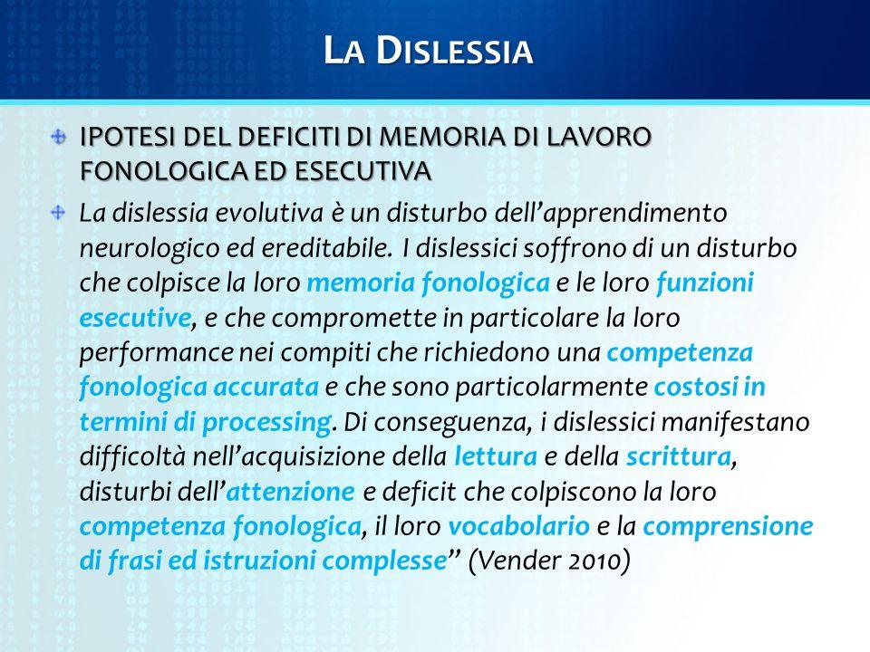 L A D ISLESSIA IPOTESI DEL DEFICITI DI MEMORIA DI LAVORO FONOLOGICA ED ESECUTIVA La dislessia evolutiva è un disturbo dell'apprendimento neurologico ed ereditabile.