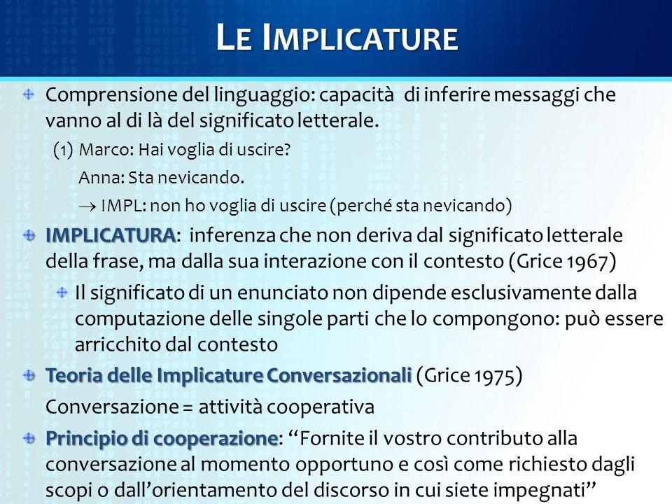L E I MPLICATURE Comprensione del linguaggio: capacità di inferire messaggi che vanno al di là del significato letterale. (1)Marco: Hai voglia di usci