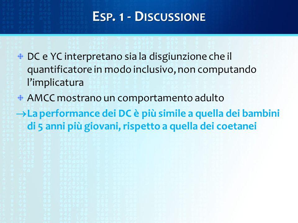 E SP. 1 - D ISCUSSIONE DC e YC interpretano sia la disgiunzione che il quantificatore in modo inclusivo, non computando l'implicatura AMCC mostrano un