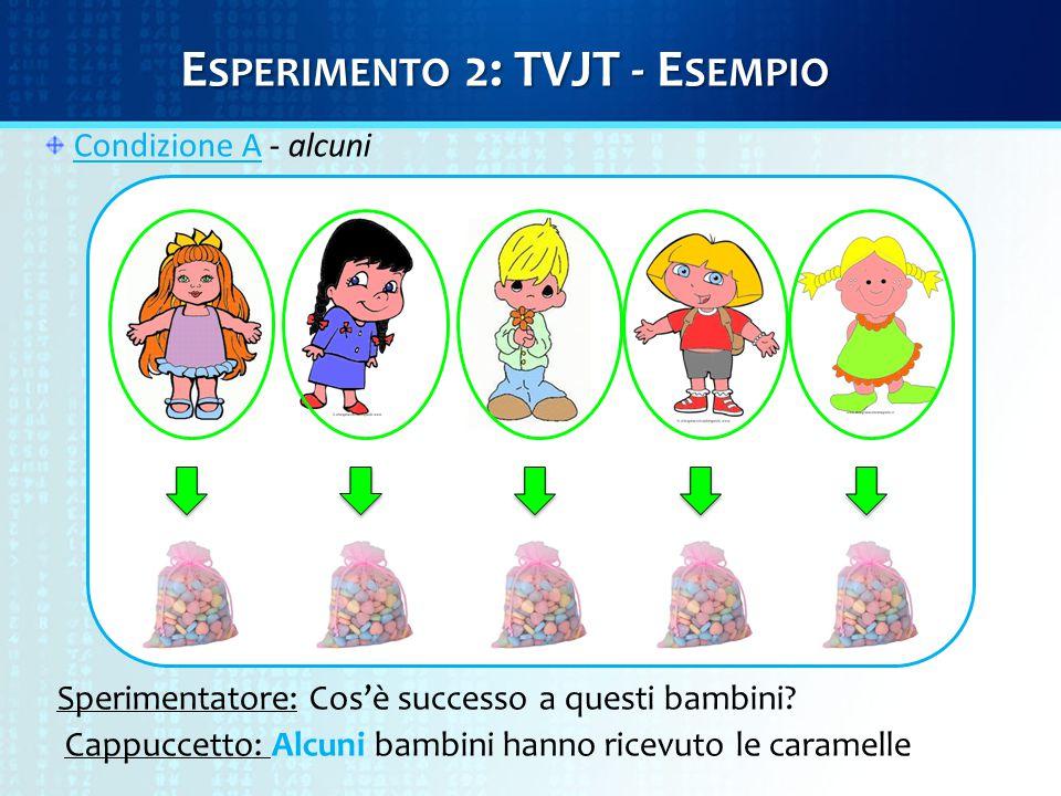 Condizione A - alcuni Sperimentatore: Cos'è successo a questi bambini? Cappuccetto: Alcuni bambini hanno ricevuto le caramelle E SPERIMENTO 2: TVJT -