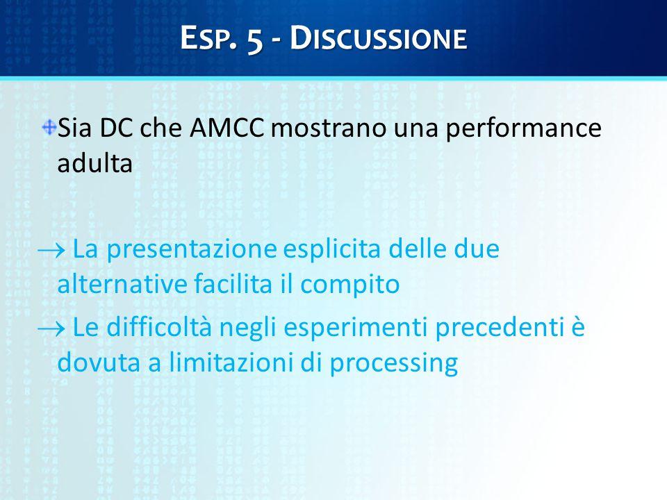 E SP. 5 - D ISCUSSIONE Sia DC che AMCC mostrano una performance adulta  La presentazione esplicita delle due alternative facilita il compito  Le dif