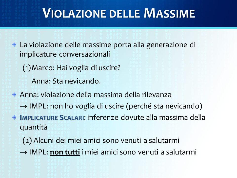 V IOLAZIONE DELLE M ASSIME La violazione delle massime porta alla generazione di implicature conversazionali (1)Marco: Hai voglia di uscire.