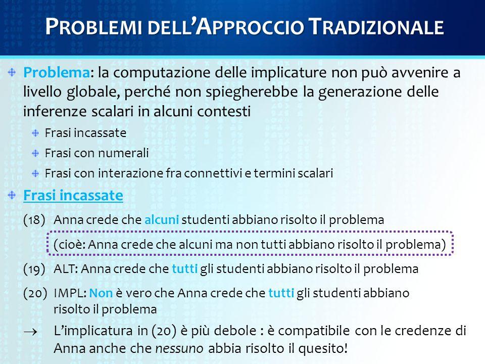 P ROBLEMI DELL 'A PPROCCIO T RADIZIONALE Frasi con numerali: (21) Ogni studente ha risolto quattro quesiti.