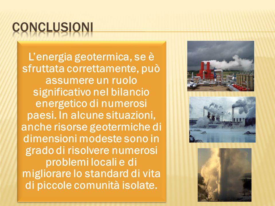 L'energia geotermica, se è sfruttata correttamente, può assumere un ruolo significativo nel bilancio energetico di numerosi paesi. In alcune situazion