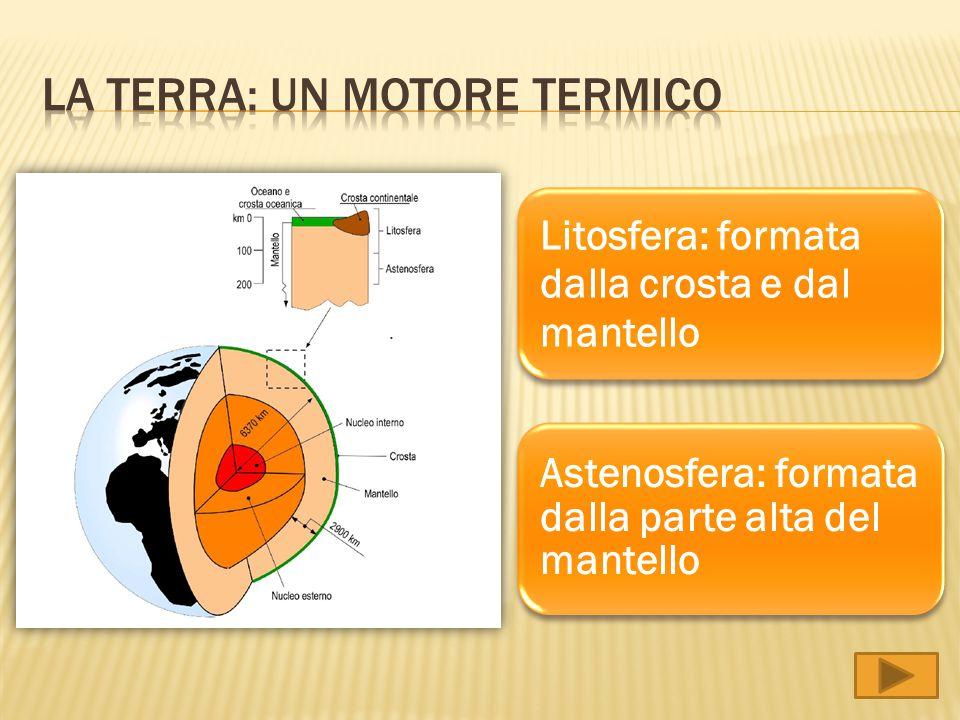 Litosfera: formata dalla crosta e dal mantello Astenosfera: formata dalla parte alta del mantello
