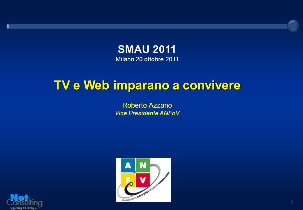 0 SMAU 2011 Milano 20 ottobre 2011 TV e Web imparano a convivere Roberto Azzano Vice Presidente ANFoV