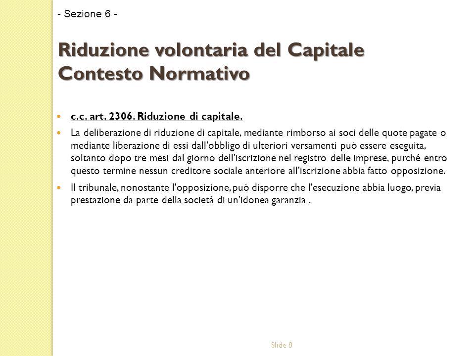 Slide 8 c.c. art. 2306. Riduzione di capitale.