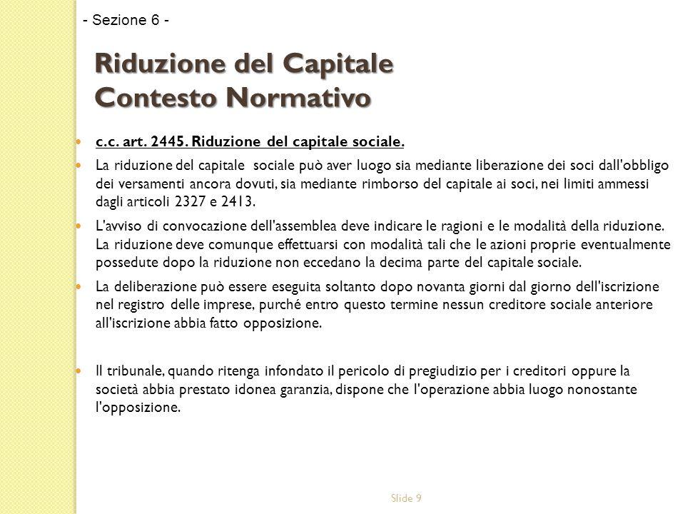 Slide 9 c.c. art. 2445. Riduzione del capitale sociale.