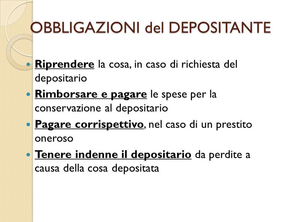 OBBLIGAZIONI del DEPOSITANTE Riprendere la cosa, in caso di richiesta del depositario Rimborsare e pagare le spese per la conservazione al depositario