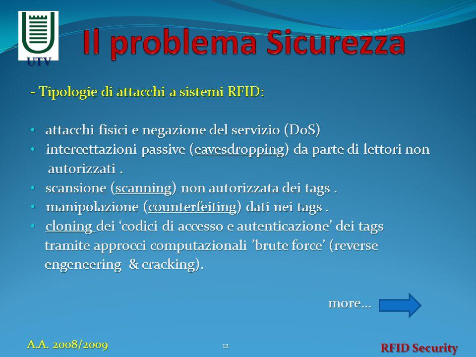 - Tipologie di attacchi a sistemi RFID: attacchi fisici e negazione del servizio (DoS) attacchi fisici e negazione del servizio (DoS) intercettazioni