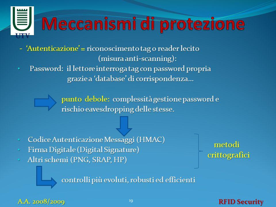 - 'Autenticazione' = riconoscimento tag o reader lecito (misura anti-scanning): (misura anti-scanning): Password: il lettore interroga tag con passwor