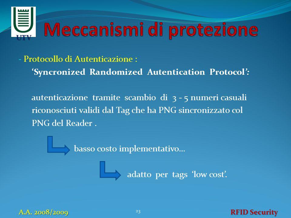 - Protocollo di Autenticazione : 'Syncronized Randomized Autentication Protocol': autenticazione tramite scambio di 3 - 5 numeri casuali riconosciuti