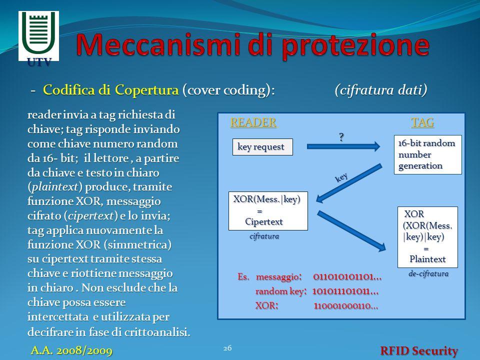 - Codifica di Copertura (cover coding): (cifratura dati) 26 RFID Security A.A. 2008/2009 UTV reader invia a tag richiesta di chiave; tag risponde invi