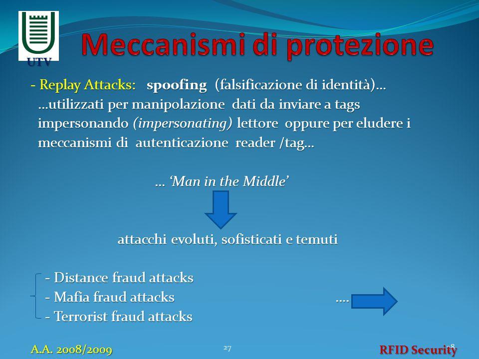 Replay Attacks: spoofing (falsificazione di identità)… - Replay Attacks: spoofing (falsificazione di identità)… …utilizzati per manipolazione dati da