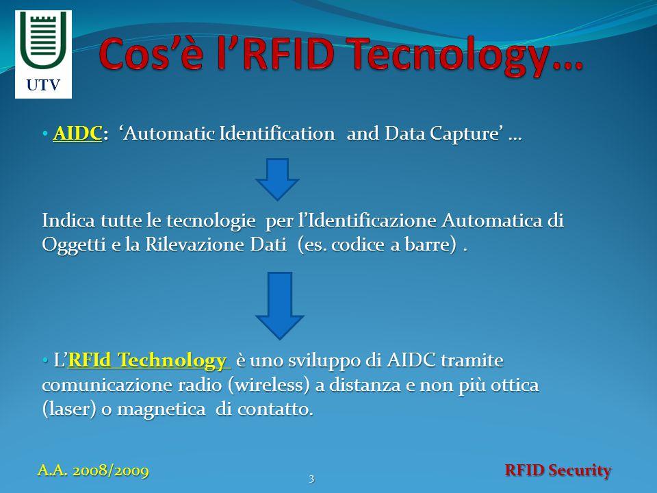 AIDC: 'Automatic Identification and Data Capture' … Indica tutte le tecnologie per l'Identificazione Automatica di Oggetti e la Rilevazione Dati (es.