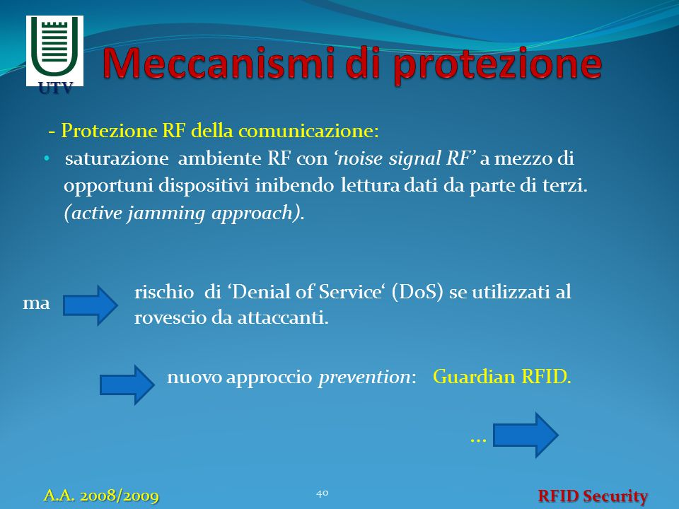 - Protezione RF della comunicazione: saturazione ambiente RF con 'noise signal RF' a mezzo di opportuni dispositivi inibendo lettura dati da parte di