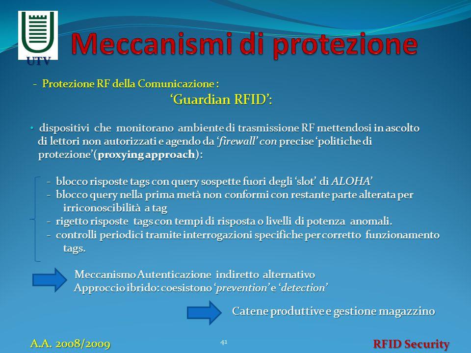 Protezione RF della Comunicazione : - Protezione RF della Comunicazione : 'Guardian RFID': 'Guardian RFID': dispositivi che monitorano ambiente di tra