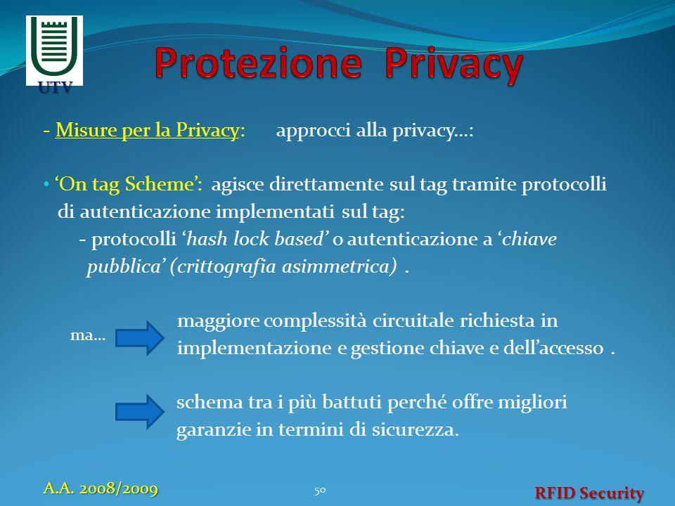 - Misure per la Privacy: approcci alla privacy…: 'On tag Scheme': agisce direttamente sul tag tramite protocolli di autenticazione implementati sul ta