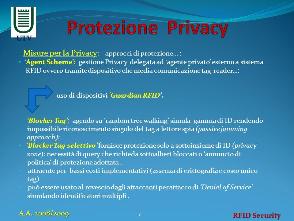 - Misure per la Privacy : approcci di protezione… : 'Agent Scheme': gestione Privacy delegata ad 'agente privato' esterno a sistema RFID ovvero tramit