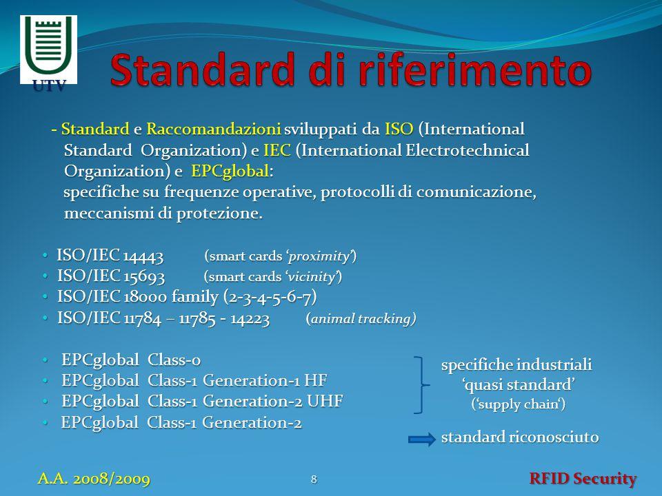 Standard e Raccomandazioni sviluppati da ISO (International - Standard e Raccomandazioni sviluppati da ISO (International Standard Organization) e IEC