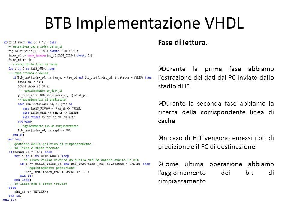 BTB Implementazione VHDL Fase di lettura.  Durante la prima fase abbiamo l'estrazione dei dati dal PC inviato dallo stadio di IF.  Durante la second