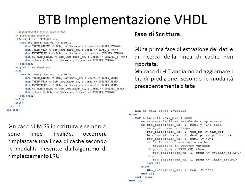 BTB Implementazione VHDL Fase di Scrittura.  Una prima fase di estrazione dei dati e di ricerca della linea di cache non riportata.  In caso di HIT