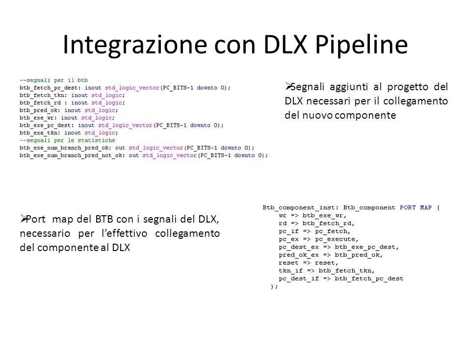 Integrazione con DLX Pipeline  Segnali aggiunti al progetto del DLX necessari per il collegamento del nuovo componente  Port map del BTB con i segna