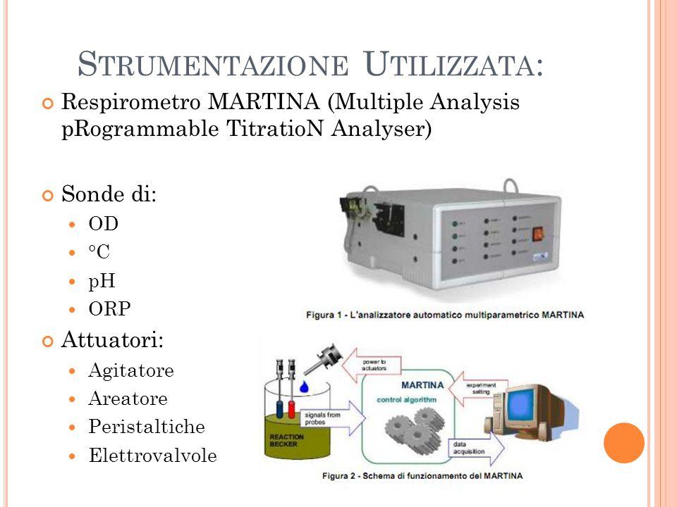 S TRUMENTAZIONE U TILIZZATA : Respirometro MARTINA (Multiple Analysis pRogrammable TitratioN Analyser) Sonde di: OD °C pH ORP Attuatori: Agitatore Are