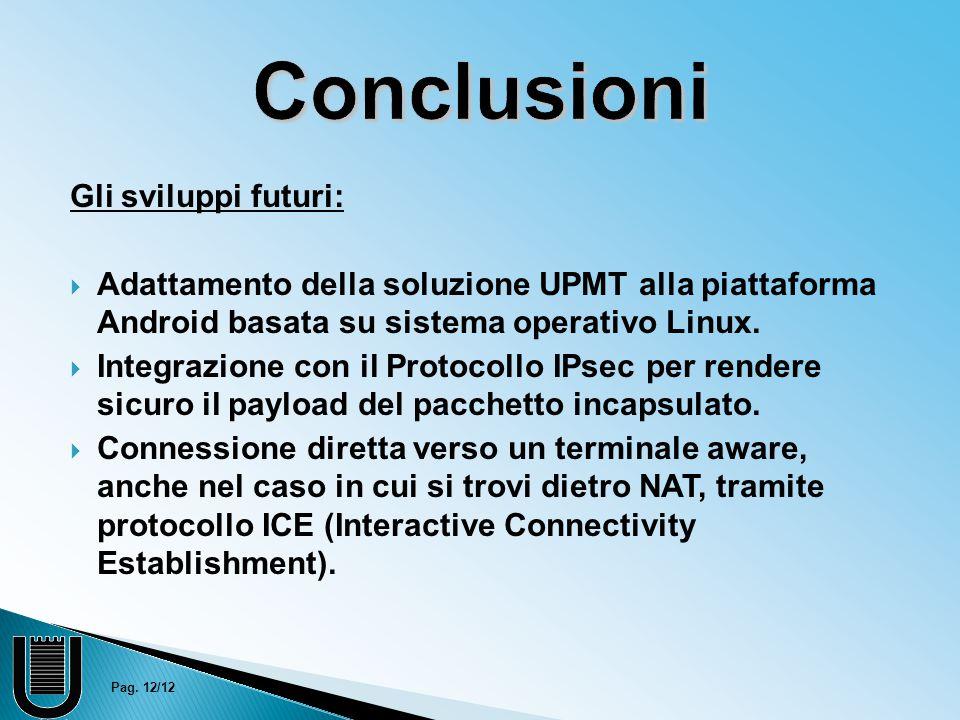 Conclusioni Gli sviluppi futuri:  Adattamento della soluzione UPMT alla piattaforma Android basata su sistema operativo Linux.