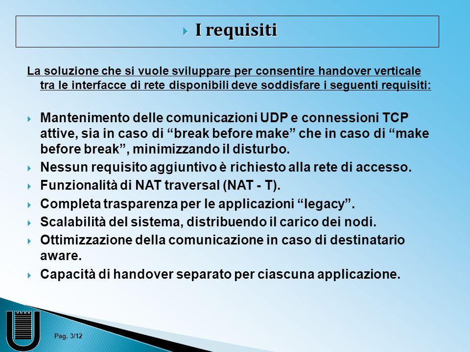 Pag. 3/12  I requisiti La soluzione che si vuole sviluppare per consentire handover verticale tra le interfacce di rete disponibili deve soddisfare i