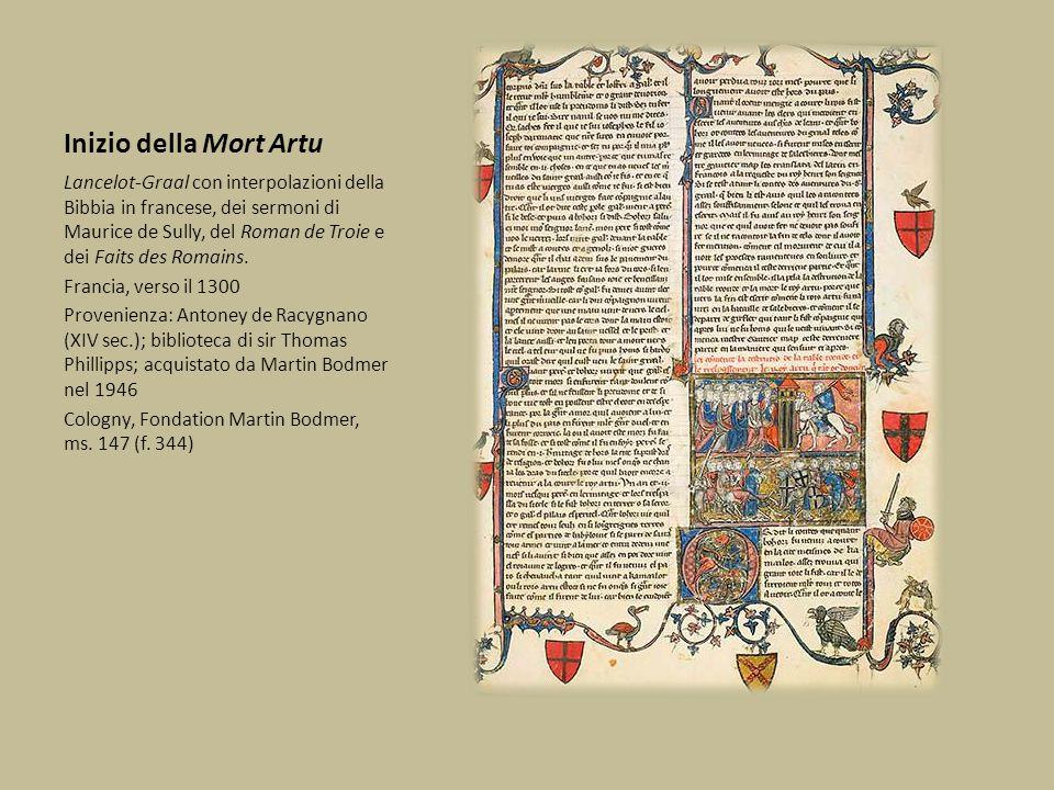 Inizio della Mort Artu Lancelot-Graal con interpolazioni della Bibbia in francese, dei sermoni di Maurice de Sully, del Roman de Troie e dei Faits des