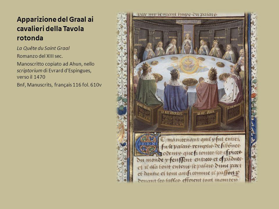 Apparizione del Graal ai cavalieri della Tavola rotonda La Quête du Saint Graal Romanzo del XIII sec. Manoscritto copiato ad Ahun, nello scriptorium d