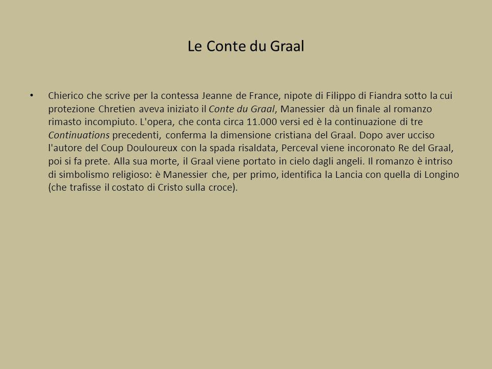 Le Conte du Graal Chierico che scrive per la contessa Jeanne de France, nipote di Filippo di Fiandra sotto la cui protezione Chretien aveva iniziato i