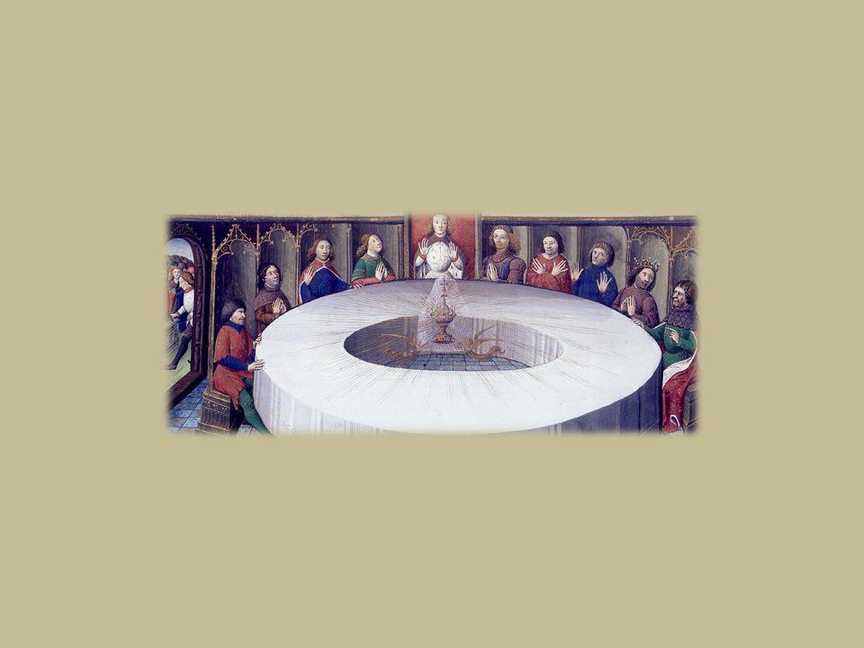 Apparizione del Graal ai cavalieri della Tavola rotonda 2 Il Graal, circondato da un arcobaleno e sorretto da due angeli dello stesso colore oro, diffonde la sua luce al centro della Tavola Rotonda.